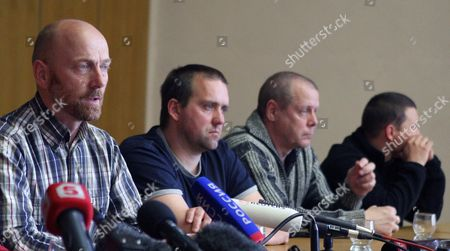 Part of the Organization For Security and Cooperation in Europe (osce) Military Observers and the So Called People's Mayor of Slaviansk Vyacheslav Ponomarev Attend a Press Conference in Slaviansk Ukraine 27 April 2014 Speaking For the Group was German Colonel Axel Schneider (l Checkered Shirt) Others Are not Identified the Seven Observers From Vienna-based Osce Five Ukrainian Officers and One Driver of a Bus Were Detained by Pro-russian Separatists in Eastern Ukrainian on 25 April 2014 and Are Held Captive on Charges of Espionage Ukraine Slaviansk