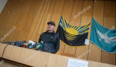 Vyacheslav Ponomaryov the Spokesman of So-called Self-proclaimed Donetsk's Republic Speaks During Press Conference in the Occupied Regional Administration Building in Slaviansk Ukraine 14 April 2014 the Pro-russian Activists Occupying State Institutions in Eastern Ukraine Said 14 April That They Will not Heed an Ultimatum by the Government in Kiev Ukraine's Acting President Turchynov on 13 April Warned That a Military Operation Would Be Launched Against Them if the Separatists Did not Lay Down Their Arms by 0700 Gmt the Situation Escalated Over the Weekend when Armed Men in Camouflage Uniforms Seized Numerous Police Stations and Administrative Buildings in Ukraine's Eastern Russian-speaking Provinces Ukraine Slaviansk