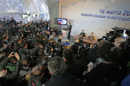 Crimean Prime Minister Sergey Aksyonov (c Standing) Speaks During a News Conference in Simferopol Crimea Ukraine 14 March 2014 Aksyonov Said That Crimea Would not Declare Independence But Should Join Russia As a Russian Region the All-crimean Referendum on the Crimean Status Will Be Held on 16 March Ukraine Simferopol