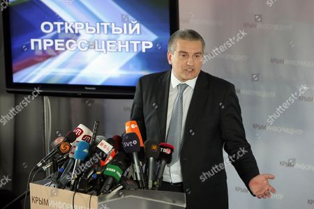 Crimean Prime Minister Sergey Aksyonov Speaks During a News Conference in Simferopol Crimea Ukraine 14 March 2014 Aksyonov Said That Crimea Would not Declare Independence But Should Join Russia As a Russian Region the All-crimean Referendum on the Crimean Status Will Be Held on 16 March Ukraine Simferopol