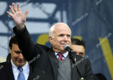 Us Senator John Mccain Speaks During a Pro-european Rally on the Independence Square in Kiev Ukraine 15 December 2013 As Ukrainian President Viktor Yanukovych and Leaders of Ukrainian Opposition Participated in a Round Table Event to Discuss Public Proposals Aimed at Achieving Political Stability Public Peace and Tranquility in Ukraine the Mass Demonstrations in Kiev Continued with Up to 20 000 Anti-government Protesters Reinforcing Barricades Emboldened by Police Assurances That They Would not Be Cleared by Force Ukraine Hopes to Continue Work on an Association Deal with the European Union a Spokesman For Prime Minister Nikolai Azarov Said 15 December Ukraine Would Only React to Official Eu Comments on the State of Negotiations He Told Russia's Interfax News Agency Indicating Ukraine was not Acknowledging a Sunday Tweet From the Eu's Neighbourhood Policy Commissioner Saying the Talks Were 'On Hold ' Ukraine Kiev