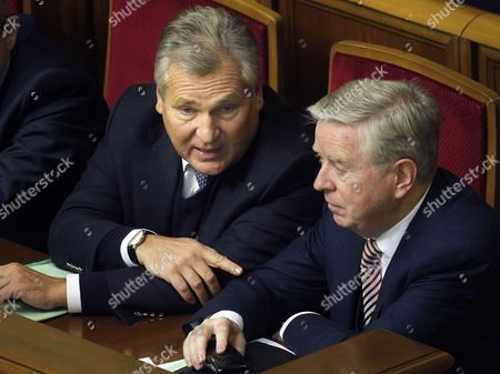 Former Polish President Aleksander Kwasniewski (l) and Former President of the European Parliament Pat Cox (r) Attend Session of the Ukrainian Parliament in Kiev Ukraine 13 November 2013 the Ukrainian Parliament on 13 November Postponed a Hearing For a Bill That Would Allow Jailed Former Prime Minister Yulia Tymoshenko to Get Medical Treatment in Germany Opposition Deputies Shouted 'Shame' when Parliamentary Speaker Vladimir Rybak Declared the Hearing Closed After a Multi-party Commission Failed to Agree on a Draft Law Ukraine Kiev