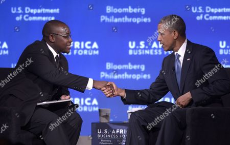 Us President Barack Obama (r) Shakes Hands with Zimbabwean Entrepreneur Takunda Ralph Michael Chingonzo During a Session of the Us Africa Business Forum in Washington Dc Usa 05 August 2014 the Us Africa Leaders Summit Runs August 4-6 United States Washington