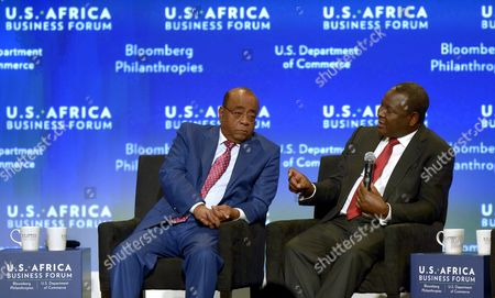 Ceo of Equity Bank Group James Mwangi (r) Talks with Founder and Chair of Mo Ibrahim Foundation Mo Ibrahim (l) During a Session of the Us Africa Business Forum in Washington Dc Usa 05 August 2014 the Us Africa Leaders Summit Runs August 4-6 United States Washington