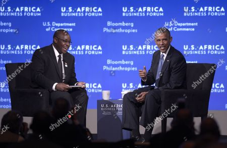 Us President Barack Obama (r) Talks with Zimbabwean Entrepreneur Takunda Ralph Michael Chingonzo During a Session of the Us Africa Business Forum in Washington Dc Usa 05 August 2014 the Us Africa Leaders Summit Runs August 4-6 United States Washington