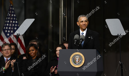 Us President Barack Obama Speaks As (l-r) Edward M Kennedy Jr First Lady Michelle Obama and Victoria Reggie Kennedy Look on During the Dedication Ceremony of the Edward M Kennedy Institute For the United States Senate in Boston Massachusetts Usa 30 March 2015 the Institute Which is Envisioned As a Way to Inform the Public About the Role of the United States Senate Opens to the Public on 31 March 2015 United States Boston