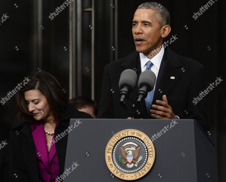 Stock Photo of United States President Barack Obama Speaks During the Dedication Ceremony of the Edward M Kennedy Institute For the United States Senate in Boston Massachusetts Usa 30 March 2015 the Institute Which is Envisioned As a Way to Inform the Public About the Role of the United States Senate Opens to the Public on 31 March 2015 at Left is Victoria Reggie Kennedy the Late Edward Kennedy's Widow United States Boston