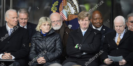 (l-r Front Row) Us Vice President Joe Biden Joan Bennett Kennedy Patrick Kennedy and Republican Senator John Mccain Sit Together at the Start of the Dedication Ceremony of the Edward M Kennedy Institute For the United States Senate in Boston Massachusetts Usa 30 March 2015 the Institute Which is Envisioned As a Way to Inform the Public About the Role of the United States Senate Opens to the Public on 31 March 2015 United States Boston
