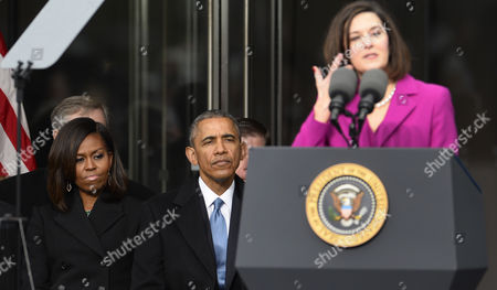 Us President Barack Obama (c) and First Lady Michelle Obama (l) Listen As Victoria Reggie Kennedy (r) the Late Edward Kennedy's Widow Speaks During the Dedication Ceremony of the Edward M Kennedy Institute For the United States Senate in Boston Massachusetts Usa 30 March 2015 the Institute Which is Envisioned As a Way to Inform the Public About the Role of the United States Senate Opens to the Public on 31 March 2015 United States Boston