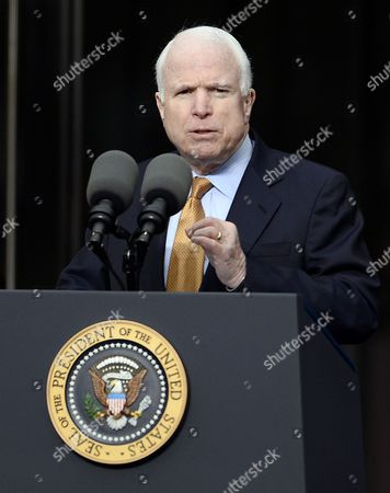 Republican Senator From Arizona John Mccain Speaks at the Start of the Dedication Ceremony of the Edward M Kennedy Institute For the United States Senate in Boston Massachusetts Usa 30 March 2015 the Institute Which is Envisioned As a Way to Inform the Public About the Role of the United States Senate Opens to the Public on 31 March 2015 United States Boston
