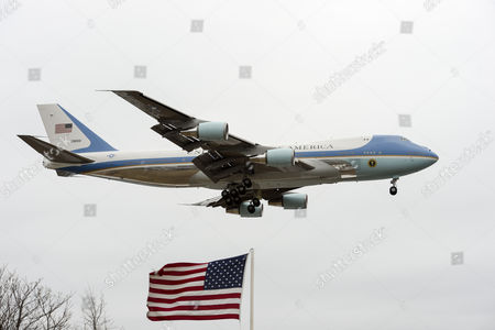 Air Force One Carrying Us President Barack Obama Lands in Boston Massachusetts Usa 30 March 2015 Obama was Attending the Dedication Ceremony of the Edward M Kennedy Institute an Institution to Inform the Public About the Role of the Us Senate Which Opens on 31 March 2015 United States Boston