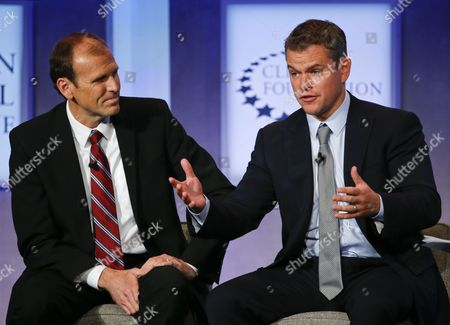 Gary White Ceo and Co-founder Water Org Listens As Matt Damon (r) Us Actor and Co-founder Makes a Plea to Support Clean Water During a Discussion at the Clinton Global Initiative in New York Usa 23 September 2014 United States New York