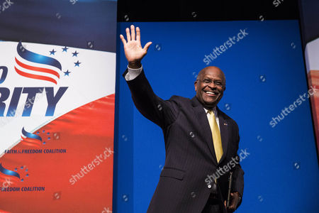 Former Presidential Candidate Herman Cain Waves to the Audience After Speaking During the Faith and Freedom Coalition's 'Road to Majority' Conference in Washington Dc Usa 20 June 2014 the Three-day Conference Featured Many Potential 2016 Presidential Candidates who Are Courting the Audience United States Washington