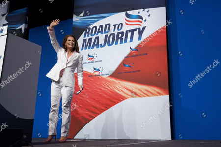 U S Rep Michele Bachmann of Minnesota Waves to the Crowd After Speaking During the Faith and Freedom Coalition's 'Road to Majority' Conference in Washington Friday June 20 2014 the Three-day Conference Featured Many Potential 2016 Presidential Candidates who Are Courting the Audience United States Washington