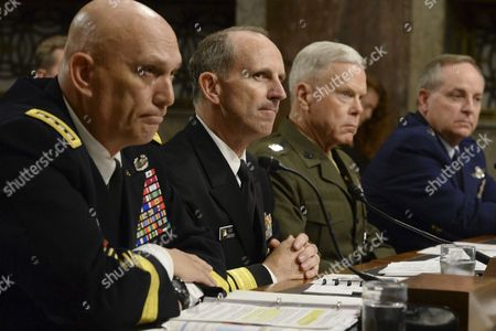 (l-r) Us Army Chief of Staff General Raymond Odierno Us Chief of Naval Operations Admiral Jonathan Greenert Us Commandant of the Marine Corps General James Amos and Us Chief of Staff of the Air Force General Mark Welsh Iii Appear Before the Us Senate Armed Services Committee Hearing on 'The Impact of Sequestration on the National Defense' on Capitol Hill in Washington Dc Usa 07 November 2013 United States Washington
