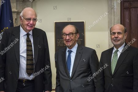 Former Chairman of the Federal Reserve Paul Volcker (l) Former Chairman of the Federal Reserve Alan Greenspan (c) and Current Chairman of the Federal Reserve Ben Bernanke (r) Gather For a Photograph After Signing a Certificate Commemorating the Signing of the Federal Reserve Act at the Federal Reserve in Washington Dc Usa 16 December 2013 Bernanke is in His Last Weeks of the Job; His Successor is Federal Vice Chairwoman Janet Yellen United States Washington
