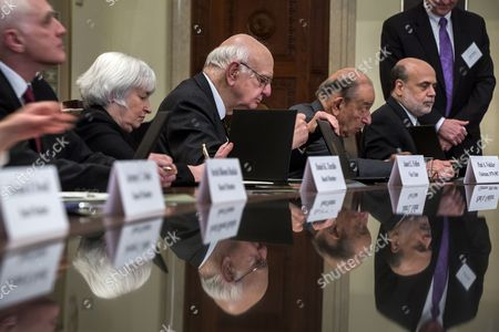 Federal Reserve Board Member Daniel Tarullo (l) Federal Reserve Vice Chairwoman Janet Yellen (c-l) Former Chairman of the Federal Reserve Paul Volcker (c) Former Chairman of the Federal Reserve Alan Greenspan (c-r) and Current Chairman of the Federal Reserve Ben Bernanke (r) Sign a Certificate Commemorating the Signing of the Federal Reserve Act at the Federal Reserve in Washington Dc Usa 16 December 2013 Bernanke is in His Last Weeks of the Job; His Successor is Federal Vice Chairwoman Janet Yellen United States Washington