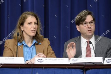 Director of the Office of Management and Budget (omb) Sylvia Mathews Burwell (l) and Council of Economic Advisers Chairman Jason Furman (r) Attend a News Conference on President Obama's Fiscal Year 2015 Budget Proposal at the Eisenhower Executive Office Building in Washington Dc Usa 04 March 2014 Obama Sent a 3 9 Trillion Dollar Budget Request to Congress on 04 March That Has Increased Spending Aimed to Bolster Economic Growth United States Washington