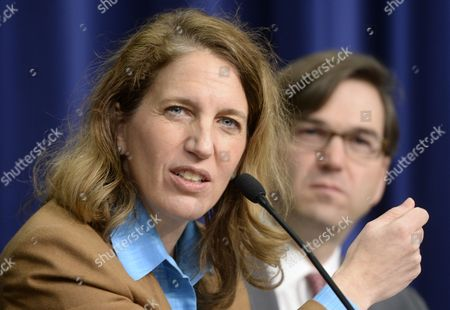 Director of the Office of Management and Budget (omb) Sylvia Mathews Burwell (l) Responds to a Question Beside Council of Economic Advisers Chairman Jason Furman (r) During a News Conference on President Obama's Fiscal Year 2015 Budget Proposal at the Eisenhower Executive Office Building in Washington Dc Usa 04 March 2014 Obama Sent a 3 9 Trillion Dollar Budget Request to Congress on 04 March That Has Increased Spending Aimed to Bolster Economic Growth United States Washington
