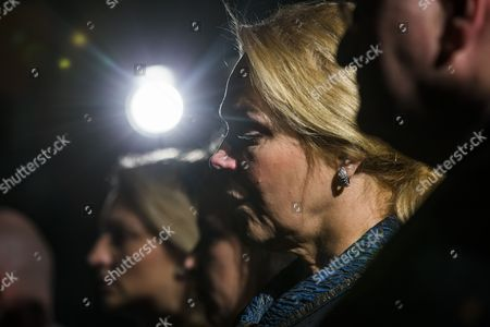 Vaclav Havel's Widow Dagmar Havlova Cries During a Bust Unveiling of the Late Czech Leader in Statuary Hall of the Us Capitol in Washington Dc Usa 19 November 2014 in 1993 Havel was President of Czechoslovakia From 1989 to 1993 and of the Czech Republic From 1993 to 2003 United States Washington