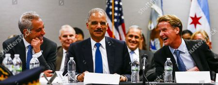 Us Attorney General Eric Holder (c) Laughs with Chicago Mayor Rahm Emanuel (l) and Us Attorney For the Northern District of Illinois Zachary T Fardon (r) During the Start of a Meeting with Community Leader Law Enforcement Clergy and Political Leaders on Building Public Trust in the Everett Mckinley Dirksen Courthouse in Chicago Illinois Usa 12 December 2014 the Chicago Meeting is the Latest in a Series of Meetings in Five Locations Across the Country in the Wake of Recent Police Shootings of Unarmed Citizens and the Public's Reaction to Them United States Chicago