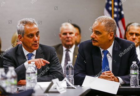 Us Attorney General Eric Holder (r) Listens to Chicago Mayor Rahm Emanuel (l) During a Meeting with Community Leader Law Enforcement Clergy and Political Leaders on Building Public Trust in the Everett Mckinley Dirksen Courthouse in Chicago Illinois Usa 12 December 2014 the Chicago Meeting is the Latest in a Series of Meetings in Five Locations Across the Country in the Wake of Recent Police Shootings of Unarmed Citizens and the Public's Reaction to Them United States Chicago