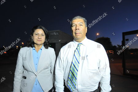 Stock Photo of Salvadorean Consulate Jose Joaquin Chacon (r) and Hilda Aguirre (l) Visit Us Border Patrol Facilities in Nogales City in Santa Cruz County Arizona Usa 10 June 2014 Almost 1 118 Underage Young Immigrants Coming From Central America Are Under Protection of Us Border Patrol Nogales is For Many a Symbol of the Flaws in the Us Immigration System Every Day More Than 1 000 Undocumented Migrants Are Sent to the Us Part of the City to Be Deported to Mexico United States Nogales