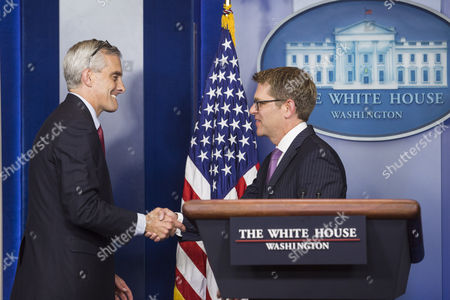 White House Chief of Staff Denis Mcdonough Left Thanks White House Press Secretary Jay Carney Right During His Last Press Briefing at the White House in Washington Dc Usa 18 June 2014 Deputy Press Secretary Josh Earnest Will Take Over Carney's Position United States Washington