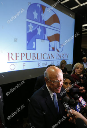 Republican Senator Pat Roberts Kansas Speak to the News Media at a Watch Party After Defeating Independent Candidate Greg Orman in the Midterm Elections in Topeka Kansas Usa 04 November 2014 United States Topeka