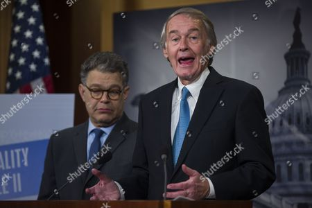 Democratic Senator From Massachusetts Ed Markey (r) Along with Democratic Senator From Minnesota Al Franken (l) Speaks at a Press Conference About the Senate's Consideration of Net Neutrality in the Us Capitol in Washington Dc Usa 04 February 2015 Earlier in the Day Federal Communications Commission Chairman Tom Wheeler Said in an Op-ed That He Wants Tight Net Neutrality Rules United States Washington