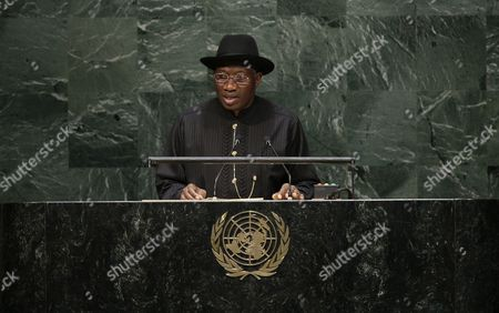 Goodluck Ebele Jonathan President of the Federal Republic of Nigeria Speaks During the General Debate of the 69th Session of the United Nations General Assembly at United Nations Headquarters in New York New York Usa 24 September 2014 United States New York