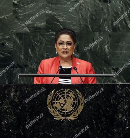 Kamla Persad-bissessar Prime Minister of the Republic of Trinidad and Tobago Speaks During the 69th Session of the United Nations General Assembly at United Nations Headquarters in New York New York Usa 26 September 2014 United States New York