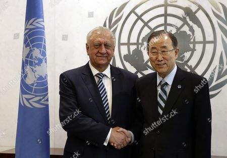 Mikhail Myasnikovich Prime Minister of Belarus (l) Shakes Hands with United Nations Secretary-general Ban Ki-moon (r) During a Meeting at the 69th Session of the United Nations General Assembly at United Nations Headquarters in New York New York Usa 21 September 2014 at the Annual Gathering Beginning 24 September Representatives From the 193 Un Member States and the Palestinian Authority the Vatican and the European Union Will Try to Make Headway on the Most Pressing Crises and Lay out Their Visions For Long-term International Development United States New York