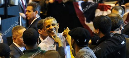 Us President Barack Obama (c) Greets Supporters During a Campaign Event For Wisconsin Democratic Gubernatorial Candidate Mary Burke At3north Division High School in Milwaukee Wisconsin Usa 28 October 2014 Elections Across the Us For Numerous Races Will Be Held on 04 November 2014 United States Milwaukee