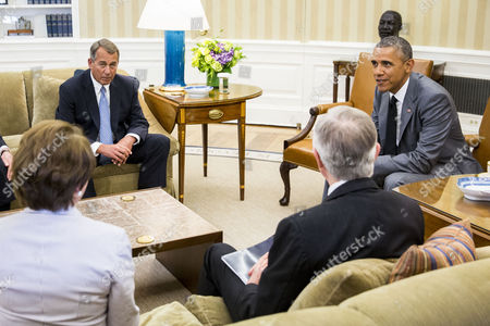 From Left to Right House Minority Leader Nancy Pelosi Speaker of the House John Boehner Senate Majority Leader Harry Reid and President Barack Obama Meet in the Oval Office of the White House in Washington Dc Usa 18 June 2014 According to Press Secretary Jay Carney the President and Congressional Leadership Were Meeting to Discuss Options For the Conflict in Iraq United States Washington