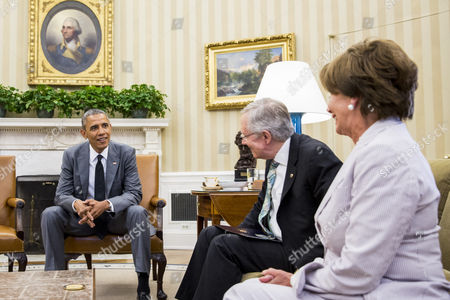From Left to Right President Barack Obama Talks with Senate Majority Leader Harry Reid and House Minority Leader Nancy Pelosi During a Meeting in the Oval Office of the White House in Washington Dc Usa 18 June 2014 According to Press Secretary Jay Carney the President and Congressional Leadership Were Meeting to Discuss Options For the Conflict in Iraq United States Washington