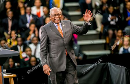 Us Representative James E Clyburn Waves Before Adddressing the Crowd in Attendance For Us President Barack Obama at Benedict College in Columbia South Carolina Usa 06 March 2015 Obama Spoke to Leaders About Expanding Opportunities in Their Own Communities United States Columbia