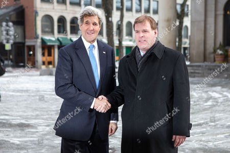 Us Secretary of State John Kerry Greets Canadian Foreign Minister John Baird (r) at Historic Faneuil Hall in Boston Massachusetts Usa 31 January 2015 Secretary of State Kerry is Hosting the North American Ministerial Trilateral Meeting United States Boston