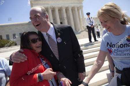 Congressman Dan Kildee (2-l) From Michigan Embraces Natalie Mosher of Canton Michigan As He Shows His Support For Gay Marriage Outside the Supreme Court in Washington Dc Usa 28 April 2015 the Us Supreme Court Heard Arguments in a Case That Could Decide Whether Gay and Lesbian People Have a Constitutional Right to Same-sex Marriage in a Hearing That Combined Cases From Michigan Ohio Kentucky and Tennessee the Highest Us Court Heard Further Arguments About Whether States Must Recognize Same-sex Marriage Licences Granted in Other States United States Washington Dc