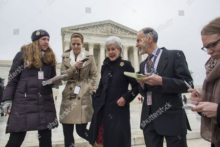 Reporters Surround Former Us Secretary of Health and Human Services Kathleen Sebelius (c) As She Exits the Supreme Court After Attending the Second Major Legal Challenge to the Affordable Care Act Commonly Known As Obamacare in Washington Dc Usa 04 March 2015 the Plaintiffs in the Case King V Burwell Backed by Conservative Groups Allege the Law Should not Allow Low-income Families in 34 States to Receive Subsidies For Private Insurance United States Washington
