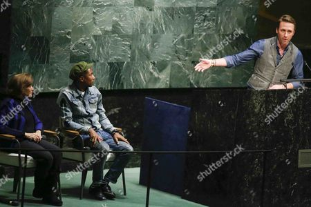 Conservationist Philippe Cousteau Jr (r) Speaks About Us Musician Pharrell Williams and Us Marine Biologist Sylvia Earle (l) As Part of an Event Marking International Day of Happiness at United Nations Headquarters in New York New York Usa 20 March 2015 United States New York