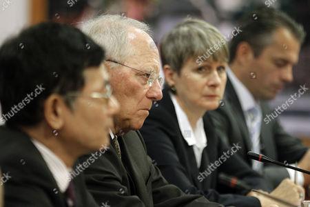 German Finance Minister Wolfgang Schaeuble (2-l) Listens to Vietnamese Finance Minister Dinh Tien Dung (not Pictured) in Hanoi Vietnam 22 September 2014 Schaeuble is on an Official Visit to Vietnam From 21 to 22 September 2014 Viet Nam Hanoi