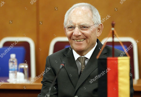 German Finance Minister Wolfgang Schaeuble Smiles to Vietnamese Finance Minister Dinh Tien Dung (not Pictured) in Hanoi Vietnam 22 September 2014 Schaeuble is on an Official Visit to Vietnam From 21 to 22 September 2014 Viet Nam Hanoi