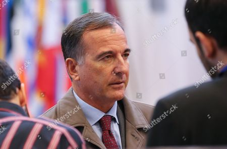 Franco Frattini (c) Former Italian Eu Commissioner and President of the Italian Society For International Organization (sioi) Speaks with Journalist After a Privat Meeting with President of the European Council European Council President Herman Van Rompuy (unseen) in Brussels Belgium 30 September 2013 Belgium Brussels