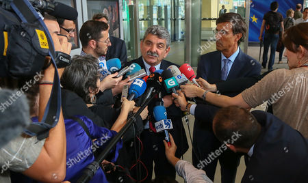 Director General Astilleros Balenciaga Vicente Galdeano (l) and Director General Metal Ships Alberto Iglesias (r) Speaks to Media As They Arrive at the Eu Commission Headquarter in Brussels Belgium 11 July 2013 European Commissioner For Competition Joaquin Almunia Receives Spanish Minister Jose Manuel Soria and Regional Presidents From Asturias Galicia and Basque Country For a Meeting Belgium Brussels