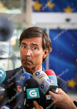 Director General Metal Ships Alberto Iglesias Speaks to Media As He Arrives at the Eu Commission Headquarter in Brussels Belgium 11 July 2013 European Commissioner For Competition Joaquin Almunia Receives Spanish Minister Jose Manuel Soria and Regional Presidents From Asturias Galicia and Basque Country For a Meeting Belgium Brussels