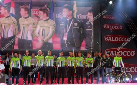 Italian Cyclist Ivan Basso (r) and His Teammates of the Cannondale Team Attend the Official Teams Presentation of the 2014 Giro D'italia Cycling Race at City Hall in Belfast Northern Ireland 08 May 2014 Belfast is Hosting the Giro D'italia Big Start (grande Partenza) with Three Days of Cycling Action From 9 to 11 May 2014 United Kingdom Belfast