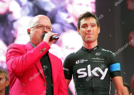 Irish Cyclist Philip Deignan (r) of Team Sky Attends the Official Teams Presentation of the 2014 Giro D'italia Cycling Race at City Hall in Belfast Northern Ireland 08 May 2014 Belfast is Hosting the Giro D'italia Big Start (grande Partenza) with Three Days of Cycling Action From 9 to 11 May 2014 United Kingdom Belfast