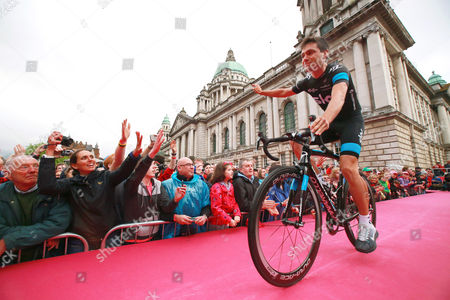 Irish Cyclist Philip Deignan of Team Sky Arrives For the Official Teams Presentation of the 2014 Giro D'italia Cycling Race at City Hall in Belfast Northern Ireland 08 May 2014 Belfast is Hosting the Giro D'italia Big Start (grande Partenza) with Three Days of Cycling Action From 9 to 11 May 2014 United Kingdom Belfast