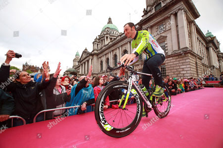 Italian Cyclist Ivan Basso of the Cannondale Team Arrives For the Official Teams Presentation of the 2014 Giro D'italia Cycling Race at City Hall in Belfast Northern Ireland 08 May 2014 Belfast is Hosting the Giro D'italia Big Start (grande Partenza) with Three Days of Cycling Action From 9 to 11 May 2014 United Kingdom Belfast